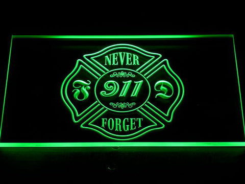 Image of Fire Department Never Forget 911 LED Neon Sign - Green - SafeSpecial