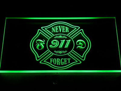 Fire Department Never Forget 911 LED Neon Sign - Green - SafeSpecial