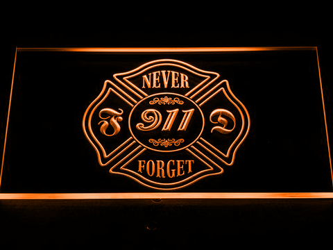 Image of Fire Department Never Forget 911 LED Neon Sign - Orange - SafeSpecial