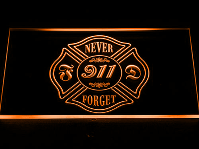 Fire Department Never Forget 911 LED Neon Sign - Orange - SafeSpecial
