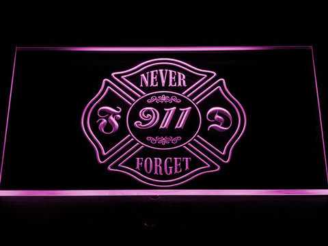 Image of Fire Department Never Forget 911 LED Neon Sign - Purple - SafeSpecial