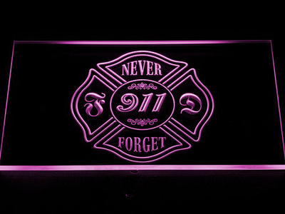 Fire Department Never Forget 911 LED Neon Sign - Purple - SafeSpecial
