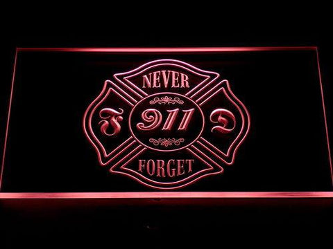 Image of Fire Department Never Forget 911 LED Neon Sign - Red - SafeSpecial
