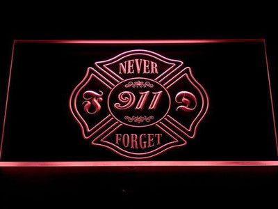 Fire Department Never Forget 911 LED Neon Sign - Red - SafeSpecial