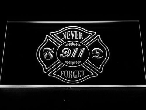 Image of Fire Department Never Forget 911 LED Neon Sign - White - SafeSpecial
