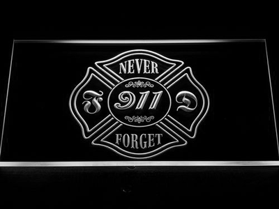 Fire Department Never Forget 911 LED Neon Sign - White - SafeSpecial