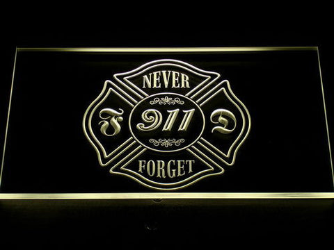 Image of Fire Department Never Forget 911 LED Neon Sign - Yellow - SafeSpecial