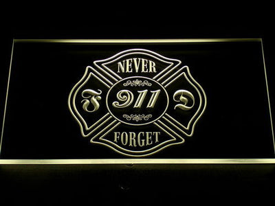 Fire Department Never Forget 911 LED Neon Sign - Yellow - SafeSpecial