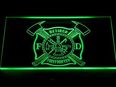 Fire Department Retired Fire Fighter LED Neon Sign - Green - SafeSpecial