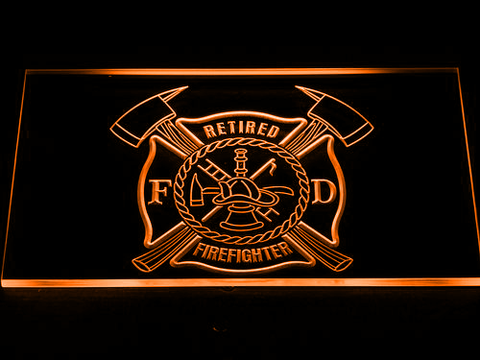 Fire Department Retired Fire Fighter LED Neon Sign - Orange - SafeSpecial