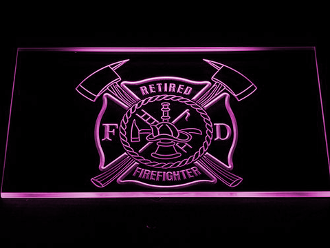 Fire Department Retired Fire Fighter LED Neon Sign - Purple - SafeSpecial