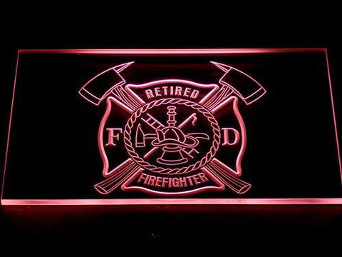 Fire Department Retired Fire Fighter LED Neon Sign - Red - SafeSpecial