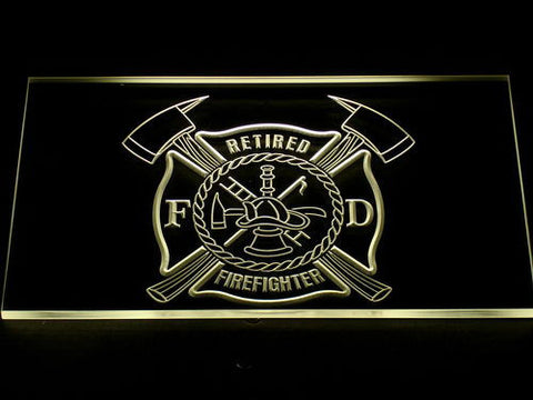 Fire Department Retired Fire Fighter LED Neon Sign - Yellow - SafeSpecial