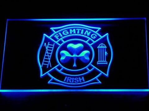 Fire Department Shamrock LED Neon Sign - Blue - SafeSpecial