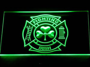 Fire Department Shamrock LED Neon Sign - Green - SafeSpecial