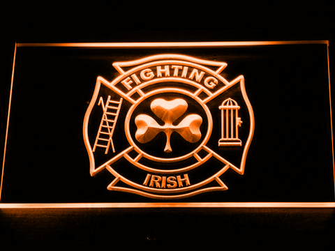 Fire Department Shamrock LED Neon Sign - Orange - SafeSpecial