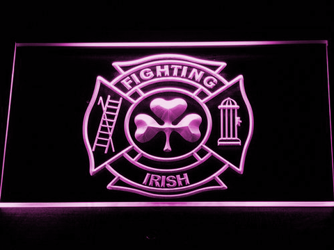 Fire Department Shamrock LED Neon Sign - Purple - SafeSpecial