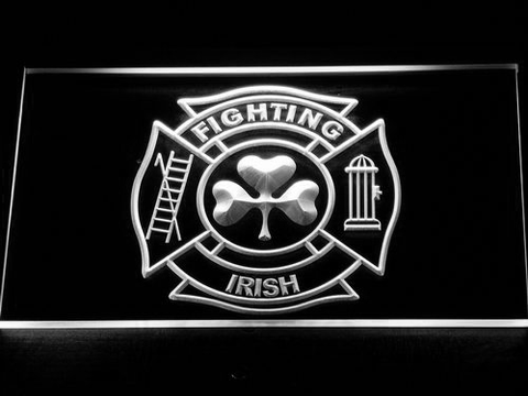 Fire Department Shamrock LED Neon Sign - White - SafeSpecial