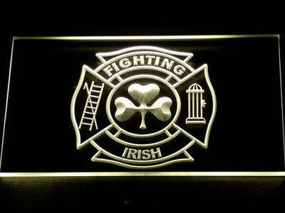 Fire Department Shamrock LED Neon Sign - Yellow - SafeSpecial