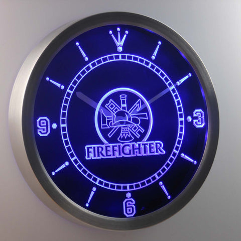 Image of Fire Fighter LED Neon Wall Clock - Blue - SafeSpecial