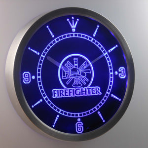 Fire Fighter LED Neon Wall Clock - Blue - SafeSpecial