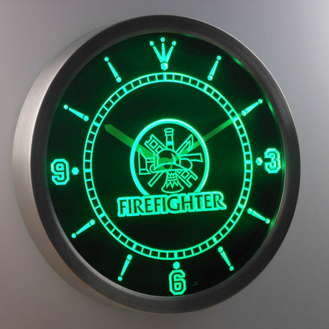 Image of Fire Fighter LED Neon Wall Clock - Green - SafeSpecial