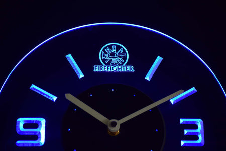 Fire Fighter Modern LED Neon Wall Clock - Blue - SafeSpecial