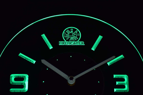 Image of Fire Fighter Modern LED Neon Wall Clock - Green - SafeSpecial