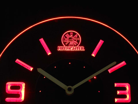 Image of Fire Fighter Modern LED Neon Wall Clock - Red - SafeSpecial