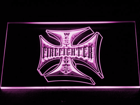 Image of Fire Fighter West Coast LED Neon Sign - Purple - SafeSpecial