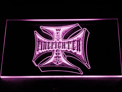Fire Fighter West Coast LED Neon Sign - Purple - SafeSpecial