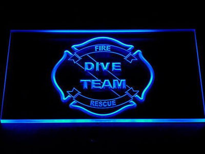 Fire Rescue Dive Team LED Neon Sign - Blue - SafeSpecial