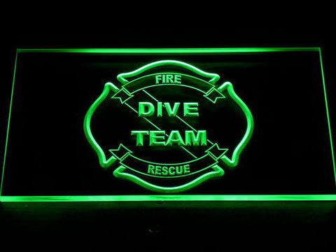 Image of Fire Rescue Dive Team LED Neon Sign - Green - SafeSpecial