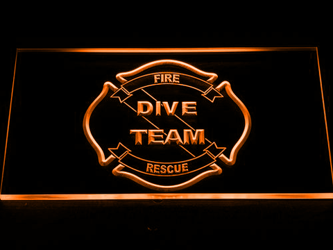 Image of Fire Rescue Dive Team LED Neon Sign - Orange - SafeSpecial