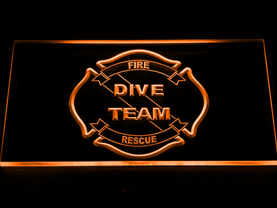 Fire Rescue Dive Team LED Neon Sign - Orange - SafeSpecial