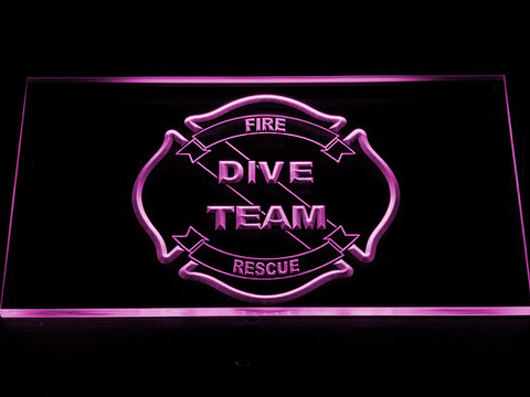 Image of Fire Rescue Dive Team LED Neon Sign - Purple - SafeSpecial