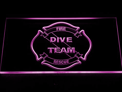 Fire Rescue Dive Team LED Neon Sign - Purple - SafeSpecial