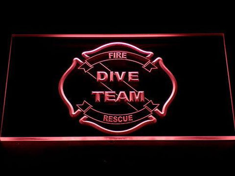 Image of Fire Rescue Dive Team LED Neon Sign - Red - SafeSpecial