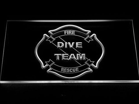 Image of Fire Rescue Dive Team LED Neon Sign - White - SafeSpecial