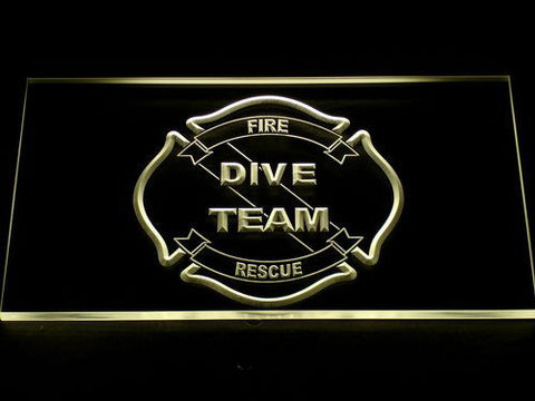 Image of Fire Rescue Dive Team LED Neon Sign - Yellow - SafeSpecial