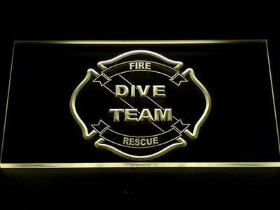 Fire Rescue Dive Team LED Neon Sign - Yellow - SafeSpecial