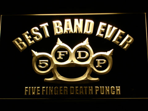 Five Finger Death Punch Best Band Ever LED Neon Sign - Yellow - SafeSpecial