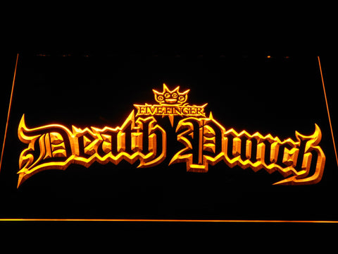 Five Finger Death Punch Gothic LED Neon Sign - Yellow - SafeSpecial