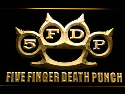 Five Finger Death Punch LED Neon Sign - Yellow - SafeSpecial