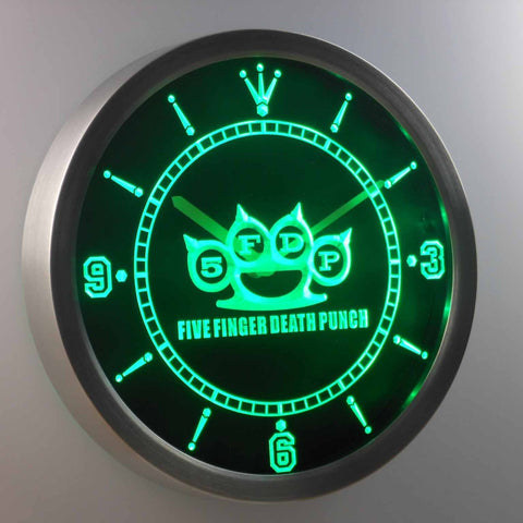 Image of Five Finger Death Punch LED Neon Wall Clock - Green - SafeSpecial