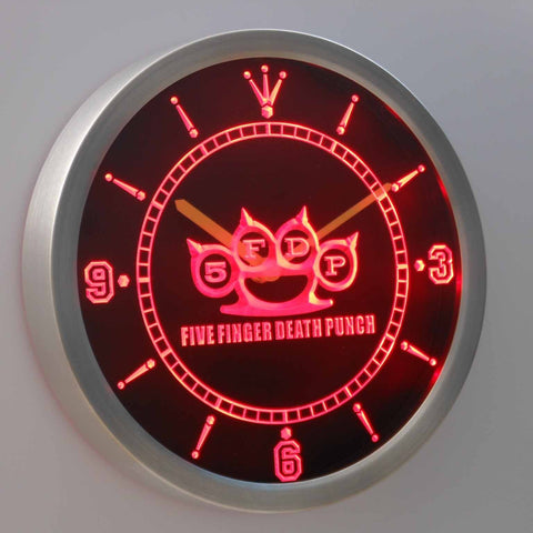 Image of Five Finger Death Punch LED Neon Wall Clock - Red - SafeSpecial