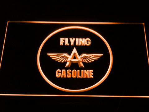 Image of Flying A Gasoline LED Neon Sign - Orange - SafeSpecial