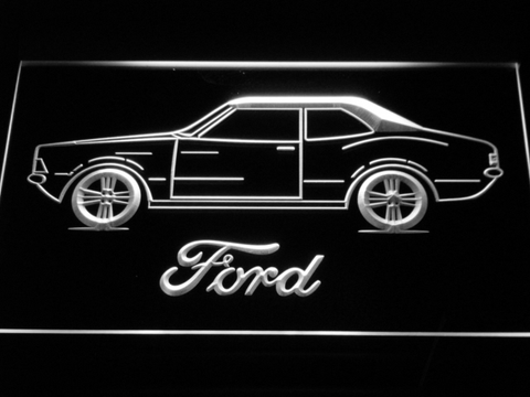 Image of Ford Classic LED Neon Sign - White - SafeSpecial