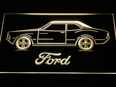 Ford Classic LED Neon Sign - Yellow - SafeSpecial