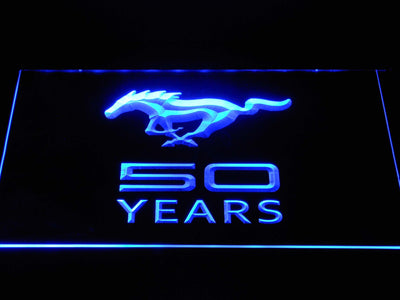 Ford Mustang 50 Years LED Neon Sign - Blue - SafeSpecial